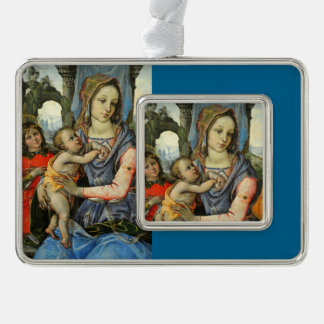 Madonna and Child with Saint Joseph and an Angel Silver Plated Framed Ornament