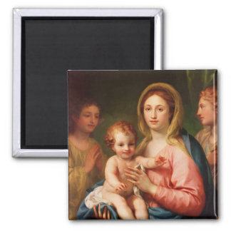 Madonna and Child with Two Angels, 1770-73 Square Magnet
