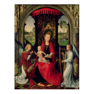 Madonna and Child with two Angels Postcard