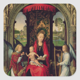 Madonna and Child with two Angels Square Stickers