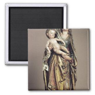 Madonna and Child, Wooden Sculpture Magnet