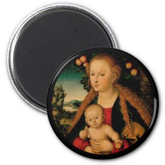 Madonna and Christ Child Under Apple Tree Magnet