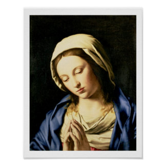 Madonna at Prayer (oil on canvas) Poster