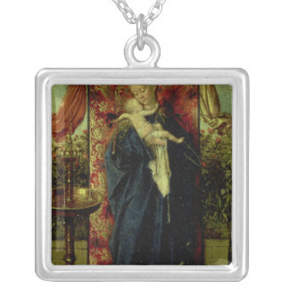 Madonna at the Fountain, 1439 Silver Plated Necklace