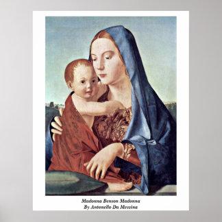 Madonna Benson Madonna By Antonello Da Messina Poster