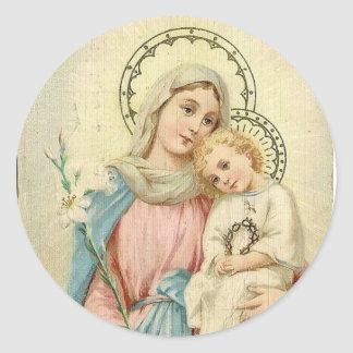 Madonna Blessed Mary with Baby Jesus Classic Round Sticker
