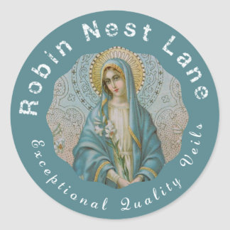 Madonna Blessed Virgin Mary Lily Classic Round Sticker