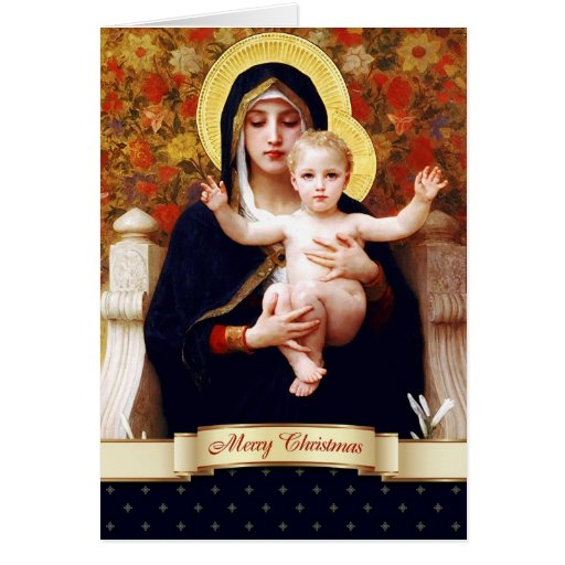 Madonna by W.Bouguereau. Fine Art Christmas Card