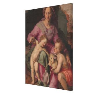Madonna & Child with Saint John the Baptist Canvas Print