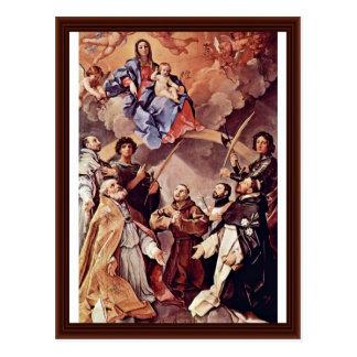 Madonna Enthroned With Bologna'S Patron Saint Postcard