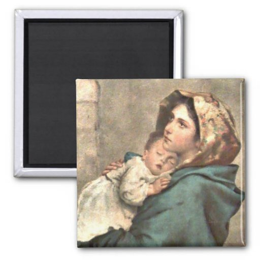 Madonna in Scarf Holds Baby Jesus Fridge Magnets