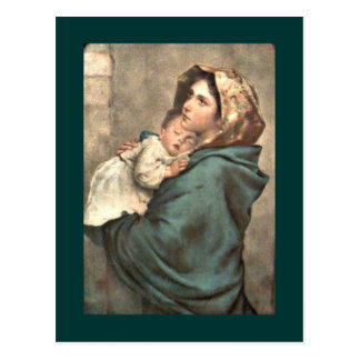 Madonna in Scarf Holds Baby Jesus Postcard