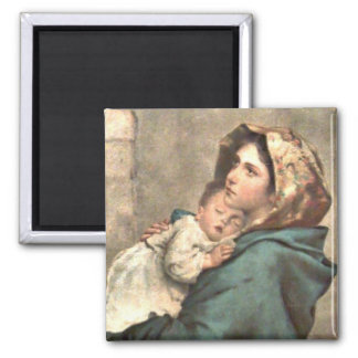Madonna in Scarf Holds Baby Jesus Square Magnet