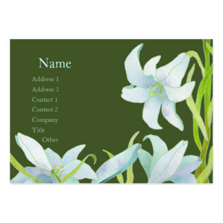Madonna Lily Green and White Custom Business Cards