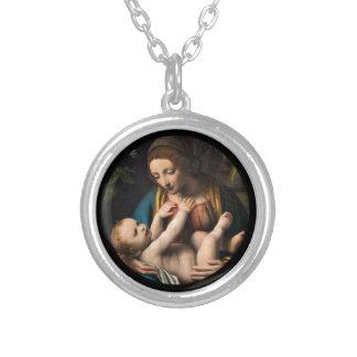Madonna me Kristusbarnet Silver Plated Necklace