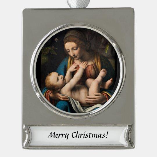 Madonna med Kristusbarnet Silver Plated Banner Ornament