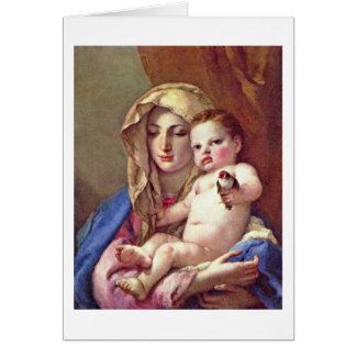 Madonna Of The Goldfinch By Giovanni Tiepolo Card