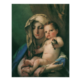 Madonna of the Goldfinch by Tiepolo, Vintage Art Poster