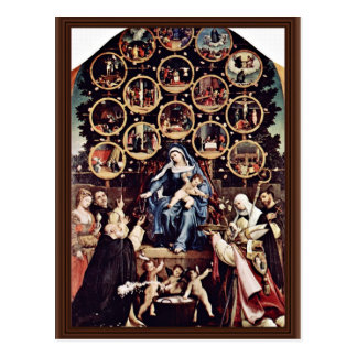 Madonna Of The Rosary By Lotto Lorenzo (Best Quali Postcard