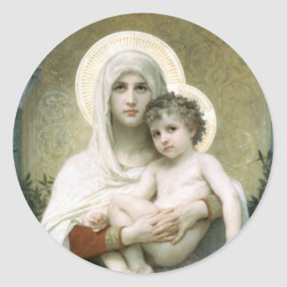 Madonna of the Roses Classic Round Sticker