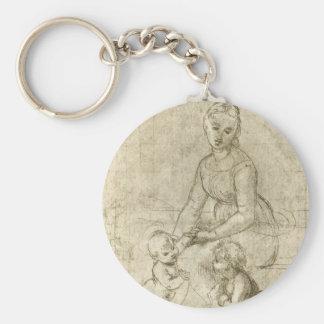 Madonna w Christ & St. John the Baptist by Rapahel Basic Round Button Key Ring