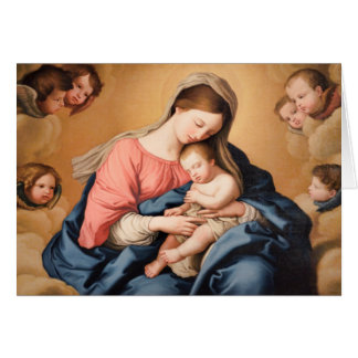 Madonna with Child and Angels Card