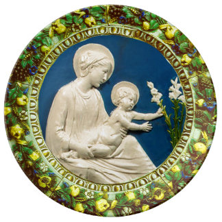 MADONNA WITH CHILD AND WHITE LILIES  FLORAL CROWN PLATE