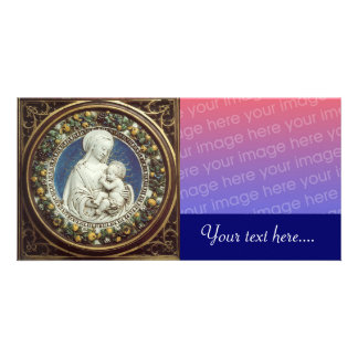 MADONNA WITH CHILD, round Photo Card Template