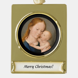 Madonna with Christ Child Gold Plated Banner Ornament