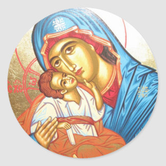Madonna with Jesus Byzantine Religious Icon gold Classic Round Sticker