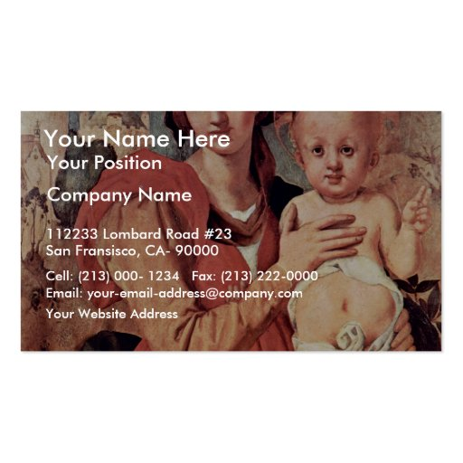 Madonna With John The Baptist By Pontormo Jacopo ( Business Card Template