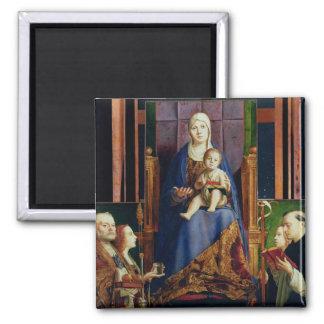 Madonna with Saint Nicholas of Bari Square Magnet
