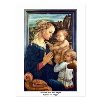Madonna With Two Angels By Lippi Fra Filippo Postcard