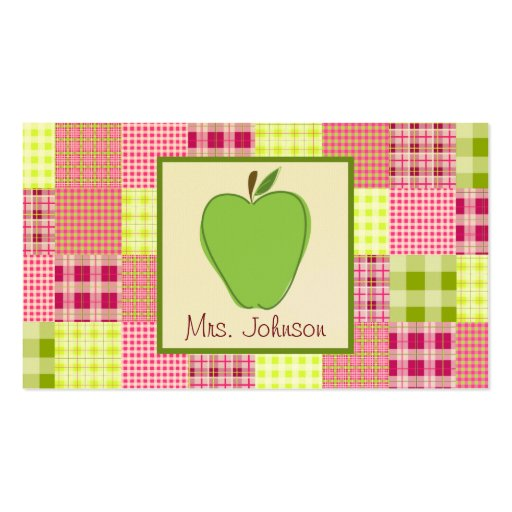 Madras Inspired Plaid Green Apple Teacher Business Card Templates