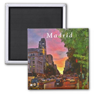 Madrid. Colorful sunset over the Gran Vía. Magnet