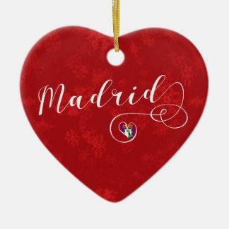 Madrid Heart, Christmas Tree Ornament, Spain Ceramic Ornament