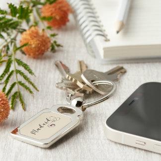 Madrid Heart Keyring, Spain Key Ring