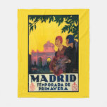 Madrid in Springtime Travel Promotional Poster Fleece Blanket