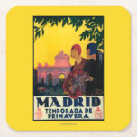 Madrid in Springtime Travel Promotional Poster Square Paper Coaster