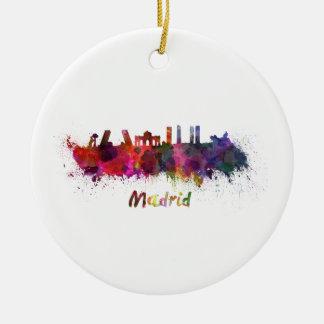 Madrid skyline in watercolor ceramic ornament