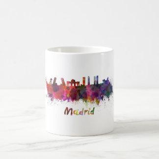 Madrid skyline in watercolor coffee mug