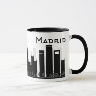 Madrid, Spain | Black & White City Skyline Mug