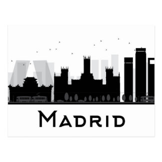 Madrid, Spain | Black & White City Skyline Postcard