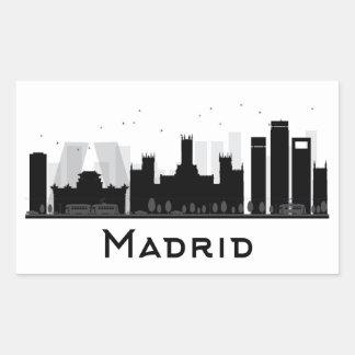 Madrid, Spain | Black & White City Skyline Rectangular Sticker