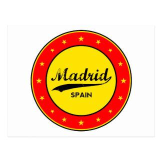 Madrid, Spain, circle, red Postcard