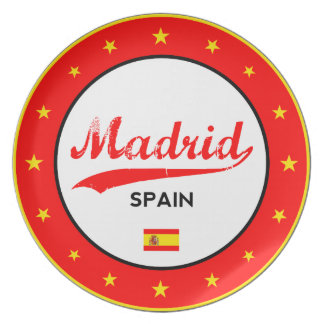 Madrid, Spain, circle, white Plate