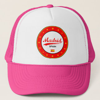 Madrid, Spain, circle, white Trucker Hat