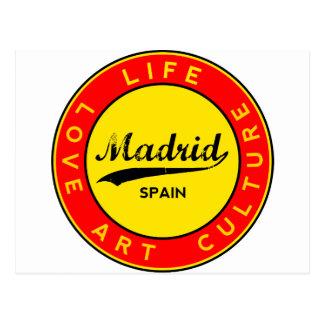 Madrid, Spain, red circle, art Postcard