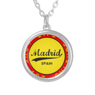 Madrid, Spain, red circle, art Silver Plated Necklace