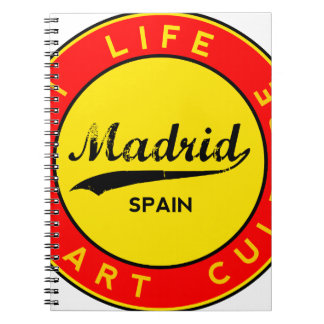 Madrid, Spain, red circle, art Spiral Notebook